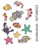 collection of marine animals ... | Shutterstock .eps vector #267188321
