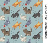 seamless pattern with cats'... | Shutterstock .eps vector #267190424
