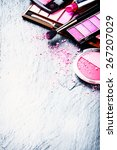 Various Makeup Products In Pin...