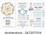 restaurant menu design. hipster ... | Shutterstock .eps vector #267207524