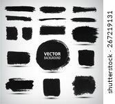 vector set of ink brush strokes | Shutterstock .eps vector #267219131