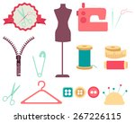 set of sewing tools and... | Shutterstock .eps vector #267226115