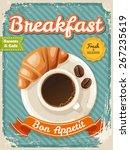 vector breakfast poster in... | Shutterstock .eps vector #267235619