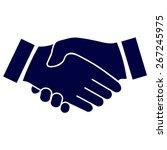 blue icon handshake.... | Shutterstock .eps vector #267245975