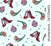 seamless female pattern. women...   Shutterstock .eps vector #267256601