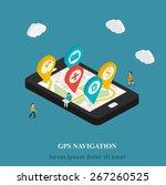 flat mobile gps navigation... | Shutterstock .eps vector #267260525