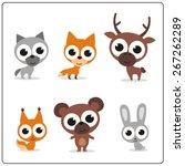 forest animals set. cartoon... | Shutterstock .eps vector #267262289