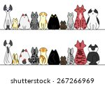 cats in a row with copy space... | Shutterstock .eps vector #267266969