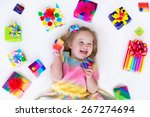 happy laughing little girl ... | Shutterstock . vector #267274694