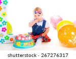 cute kid playing with a... | Shutterstock . vector #267276317