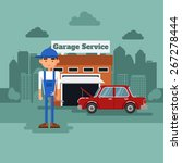 mechanic in a garage with the... | Shutterstock .eps vector #267278444