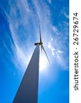 Looking up at a big wind turbine - stock photo