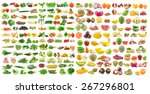 set of vegetable and fruit on... | Shutterstock . vector #267296801