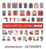 set of door equipment  icons | Shutterstock .eps vector #267304895