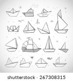 Origami Paper Boats Sketches On White Background Sailing Ships Steamboats Yachts