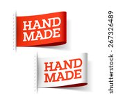 handmade red and white labels.... | Shutterstock .eps vector #267326489