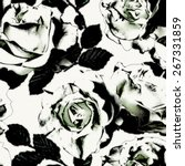 Stock photo art vintage monochrome graphic floral seamless pattern with white roses on white background in 267331859
