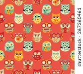 red seamless pattern with owls. ... | Shutterstock .eps vector #267360461