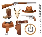 cowboy elements set with saddle ... | Shutterstock .eps vector #267364205