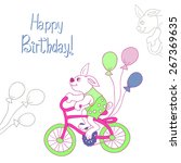 bunny on a bike with balls.... | Shutterstock .eps vector #267369635