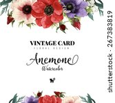 greeting card  watercolor  can... | Shutterstock .eps vector #267383819