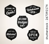 retro welcome and open signs or ... | Shutterstock .eps vector #267392174