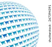 3d sphere with blue shopping...   Shutterstock .eps vector #267394391