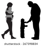 family with two children... | Shutterstock . vector #267398834