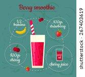 berry smoothie recipe. menu... | Shutterstock .eps vector #267403619