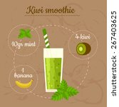 kiwi smoothie recipe. menu... | Shutterstock .eps vector #267403625