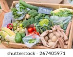vegetables on a london market. | Shutterstock . vector #267405971