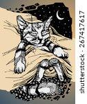 sleeping cat cartoon character... | Shutterstock .eps vector #267417617