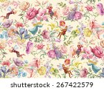 flowers and elves. seamless... | Shutterstock . vector #267422579