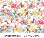 flowers and elves. seamless... | Shutterstock . vector #267422591