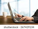 airport  laptop  mobile phone. | Shutterstock . vector #267429134