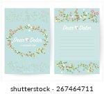 vintage wedding invitation set... | Shutterstock .eps vector #267464711