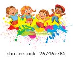 children jumping on the... | Shutterstock .eps vector #267465785