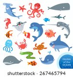 set funny fauna of ocean.... | Shutterstock .eps vector #267465794