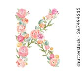 watercolor floral monogram... | Shutterstock . vector #267494315