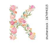 watercolor floral monogram... | Shutterstock . vector #267494315