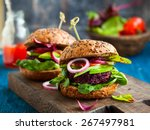 veggie beet and quinoa burger... | Shutterstock . vector #267497981