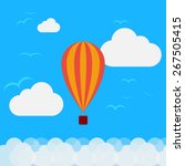 air balloon flying above clouds ... | Shutterstock .eps vector #267505415