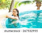 beautiful woman relaxing in a... | Shutterstock . vector #267532955