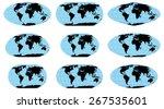 vector outline world maps in...   Shutterstock .eps vector #267535601