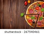 italian pizza with pepperoni on ... | Shutterstock . vector #267540461
