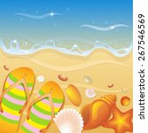 shells on the beach. vector... | Shutterstock .eps vector #267546569