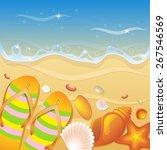 shells on the beach. vector... | Shutterstock .eps vector #267546569