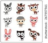 funny farm animals set. cartoon ... | Shutterstock . vector #267557561