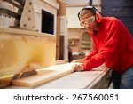 Small photo of Apprentice Using Circular Saw In Carpentry Workshop