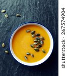 cream of pumpkin soup with... | Shutterstock . vector #267574904